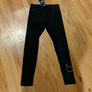NWT Nike Swoosh Leggings (Pink to yellow graident)